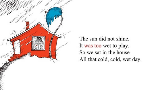 The sun did not shine. It was too wet to play (The Cat in the Hat)
